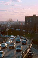 Brooklyn Queens Expressway. ( BQE ) View from Brooklyn Bridge. In background Statue of Liberty. New York. USA Ver