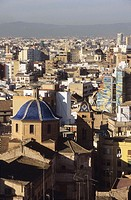 Old quarter Skyline from the tower of Valencia Cathedral, Valencia. Spain