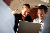 Business people in airplane