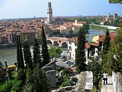 Overview of Verona. Fiume Adigio and Ponte Pietra. Verona. Veneto. Italy.