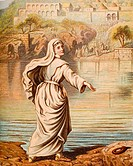 Christiana entering the river. From the book 'The Pilgrim's Progress' by John Bunyan, from late 19th century edition