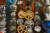 Thailand, Bangkok, industrial valves in front of shop for sale