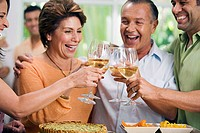 Close-up of two mature couples toasting with wineglasses and smiling