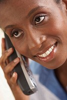 Close-up of a businesswoman talking on the phone