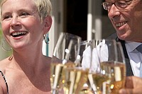 Close-up of a mature couple smiling and toasting with champagne flutes