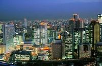 Skyline, aerial view. Osaka. Kansai. Japan.