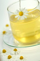 Chamomile tea in glass tea cup