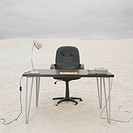 Empty help desk in the desert, Lancelin, Australia