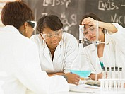 Teenage female students learning science