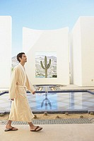 Man in robe at spa resort, Los Cabos, Mexico