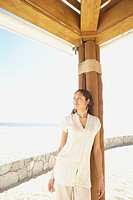 Hispanic woman outdoors at beach resort, Los Cabos, Mexico