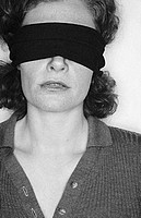 Blindfolded woman, b&w
