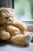 Teddy bear by window, close-up