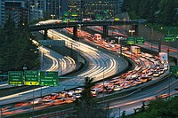 USA, Washington, Seattle, freeways at dusk (blurred motion)