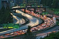 USA, Washington, Seattle, freeways at dusk (blurred motion)