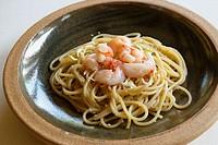 L´Albereta. Gualtiero Marchesi Restaurant. ´Spaghetti ai Gamberi Crudi e Germogli di Soia´. Erbusco, province of Brescia, in Lombardy.