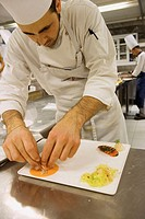 L´Albereta. Gualtiero Marchesi Restaurant. Working in the kitchen. Erbusco, province of Brescia, in Lombardy.