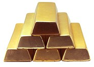 close-up of a pyramid of bars of gold
