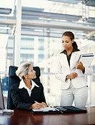 two businesswomen discussing in an office