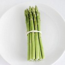 High angle view of a bunch of asparagus on a plate