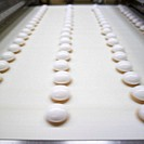 Trays of biscuits on a production line in a factory