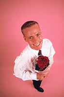 businessman with bunch of roses