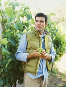 young man holding a bunch of grapes in a vineyard
