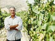 portrait of a mature man standing with his arms crossed in a vineyard