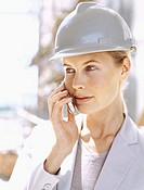 female architect talking on a mobile phone