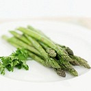 close-up of asparagus on a plate