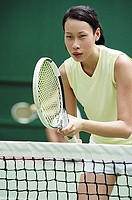 Close up of a woman playing tennis