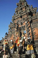 Indonesia, Bali, Temple festival at Candi Bentar gates.