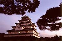 Japan, Aiku-Wakamatsu-Jo Castle, dusk