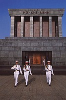 Vietnam, Hanoi, Soldiers marching in front of Ho Chi Minh Mausoleum