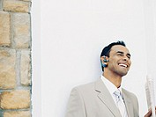 businessman wearing a hands free device