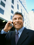 Close-up of a mature businessman talking on the phone