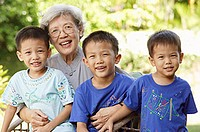 Grandmother with three grandsons