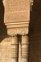Detail of chapiters at Court of the Lions, Alhambra. Granada. Andalusia, Spain