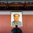 China, Beijing, Forbidden City, The Gate of Heavenly Peace, Mao Portrait, with guard in front