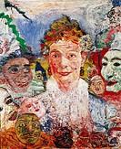 Ü Kunst, Ensor, James Sidney (13.4.1860 - 19.11.1949), Gemälde ´Die alte Dame mit Masken´ 1889, Mus.voor Schone Kunsten Gent !!! belg., portrait portr...