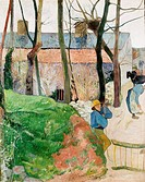 fine arts, Gauguin, Paul, 1848 - 1903, painting, ´houses at Le Pouldu´, 1890, oil on canvas, 92 cm x 72 cm, State Hall of Arts, Karlsruhe, historic, h...