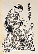 fine arts, Sukenobu, 1671 - 1751, graphics, ´a girl dressing hair of man sitting in front of mirror and playing shamisen´, circa 1730, woodcut, 26 cm ...