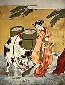 fine arts, Hanurobu, Suzuki, circa 1724 - 1770, graphics, ´girl with ox carrying baskets with love letters´, Tokyo, 1765, colour woodcut, private coll...