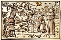 astronomy, measuring instruments, ´Arabian scholars with sun dial, measuring device and sextant, colour woodcut, Germany, 16th century, private collec...