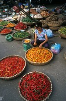 HOT PEPPER<BR>Photo essay.<BR>Marketplace in Hanoi, Vietnam.