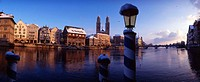 Zurich, town, city, winter, Limmat, river, old town, Limmatquai, moorings, snow, mood, panorama, dusk, twilight, Switz