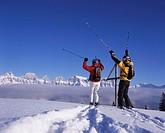 ski, skiing, fun, joke, joy, Carving, sea of fog, deep snow, Flumserberge, mountains, Churfirsten, mountains, mountain