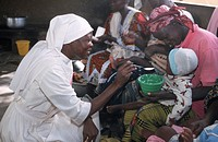 HUMANITARIAN MEDICINE<BR>Photo essay for press only.<BR>UNICEF. Nutrition center. Catholic missionaries, Ouagadougou, Burkina Faso.