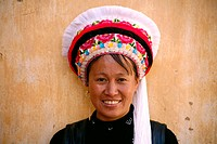 Bai women in traditional dress and bonnet. Dali, Yunnan province. China