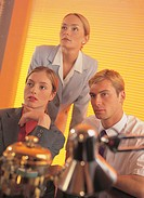 business executives concentrating on a presentation